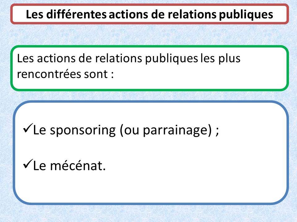 Les différentes actions de relations publiques Les actions de relations publiques les plus rencontrées sont : Le sponsoring (ou parrainage) ; Le mécén