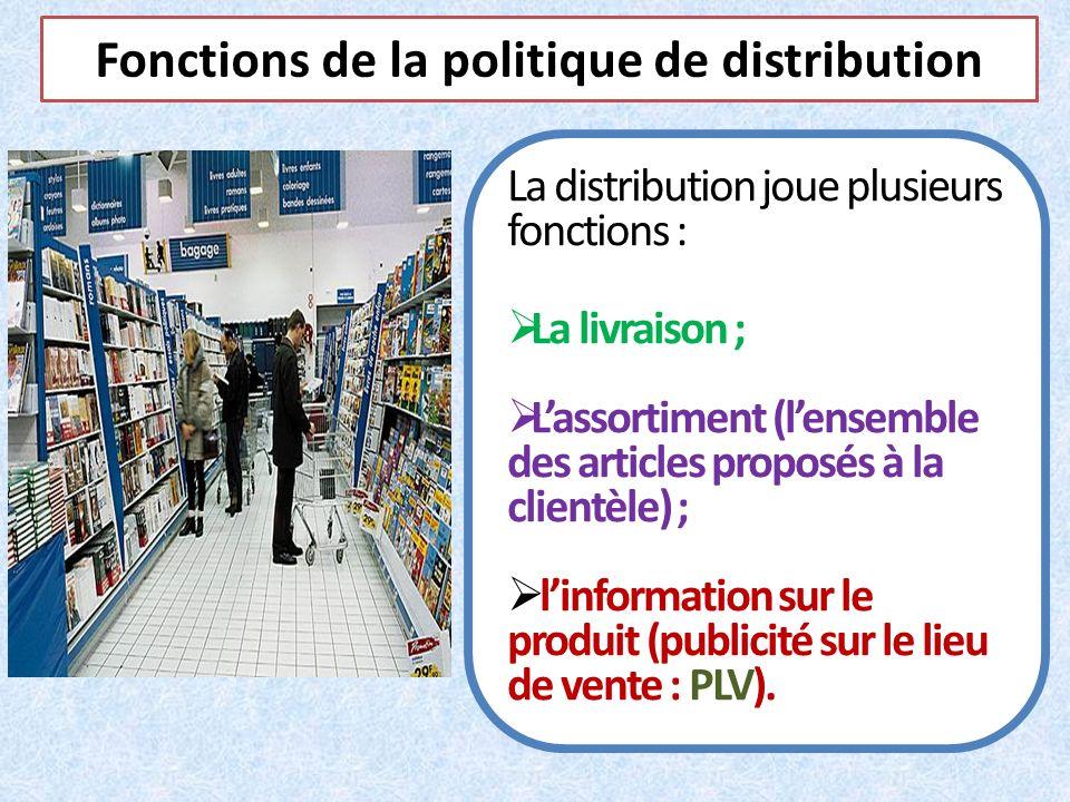 Fonctions de la politique de distribution La distribution joue plusieurs fonctions : La livraison ; Lassortiment (lensemble des articles proposés à la