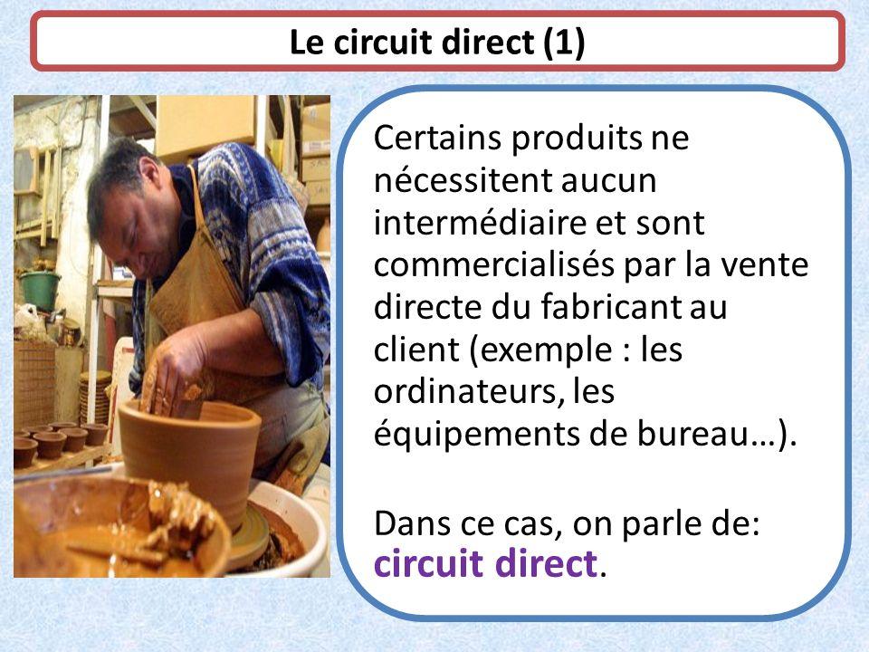 Le circuit direct (1) Certains produits ne nécessitent aucun intermédiaire et sont commercialisés par la vente directe du fabricant au client (exemple
