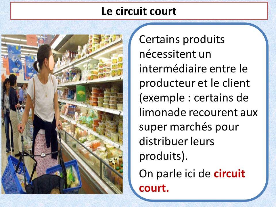 Le circuit court Certains produits nécessitent un intermédiaire entre le producteur et le client (exemple : certains de limonade recourent aux super m