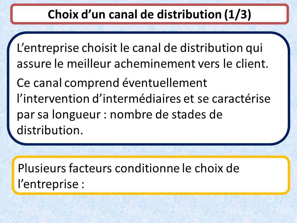 Choix dun canal de distribution (1/3) Lentreprise choisit le canal de distribution qui assure le meilleur acheminement vers le client. Ce canal compre