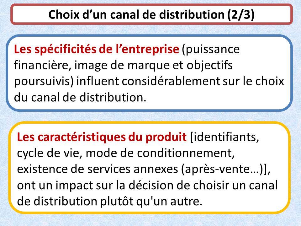 Choix dun canal de distribution (2/3) Les spécificités de lentreprise (puissance financière, image de marque et objectifs poursuivis) influent considé