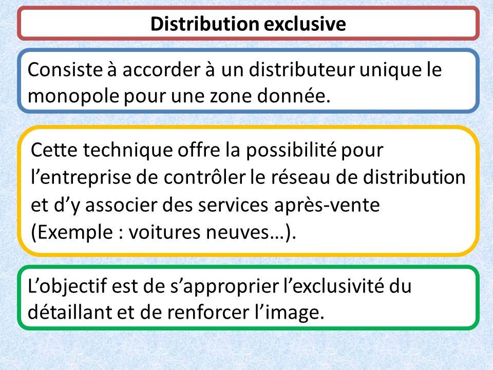 Distribution exclusive Consiste à accorder à un distributeur unique le monopole pour une zone donnée. Cette technique offre la possibilité pour lentre