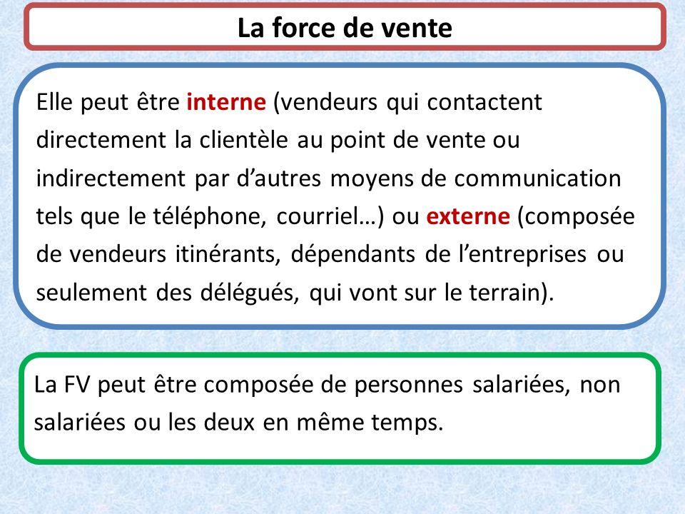 La force de vente Elle peut être interne (vendeurs qui contactent directement la clientèle au point de vente ou indirectement par dautres moyens de co