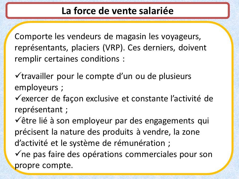 La force de vente salariée Comporte les vendeurs de magasin les voyageurs, représentants, placiers (VRP). Ces derniers, doivent remplir certaines cond