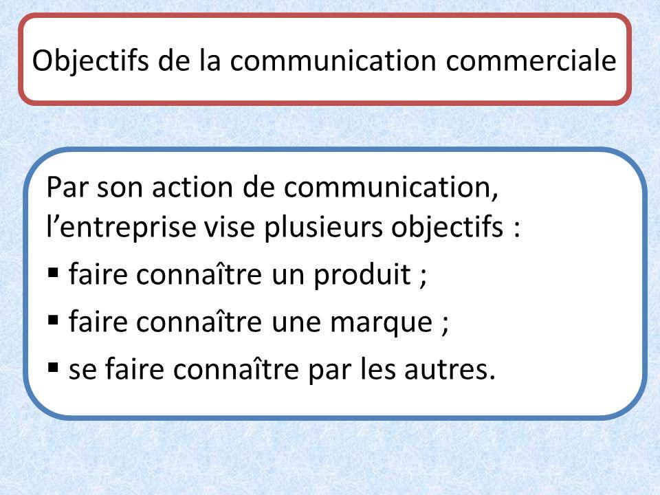 Objectifs de la communication commerciale Par son action de communication, lentreprise vise plusieurs objectifs : faire connaître un produit ; faire c