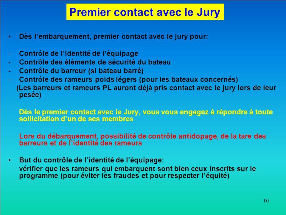 10 Dès lembarquement, premier contact avec le jury pour: -Contrôle de lidentité de léquipage -Contrôle des éléments de sécurité du bateau -Contrôle du barreur (si bateau barré) -Contrôle des rameurs poids légers (pour les bateaux concernés) (Les barreurs et rameurs PL auront déjà pris contact avec le jury lors de leur pesée) Dès le premier contact avec le Jury, vous vous engagez à répondre à toute sollicitation dun de ses membres Lors du débarquement, possibilité de contrôle antidopage, de la tare des barreurs et de lidentité des rameurs But du contrôle de lidentité de léquipage: vérifier que les rameurs qui embarquent sont bien ceux inscrits sur le programme (pour éviter les fraudes et pour respecter léquité) Premier contact avec le Jury