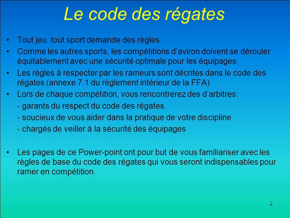 2 Le code des régates Tout jeu, tout sport demande des règles.