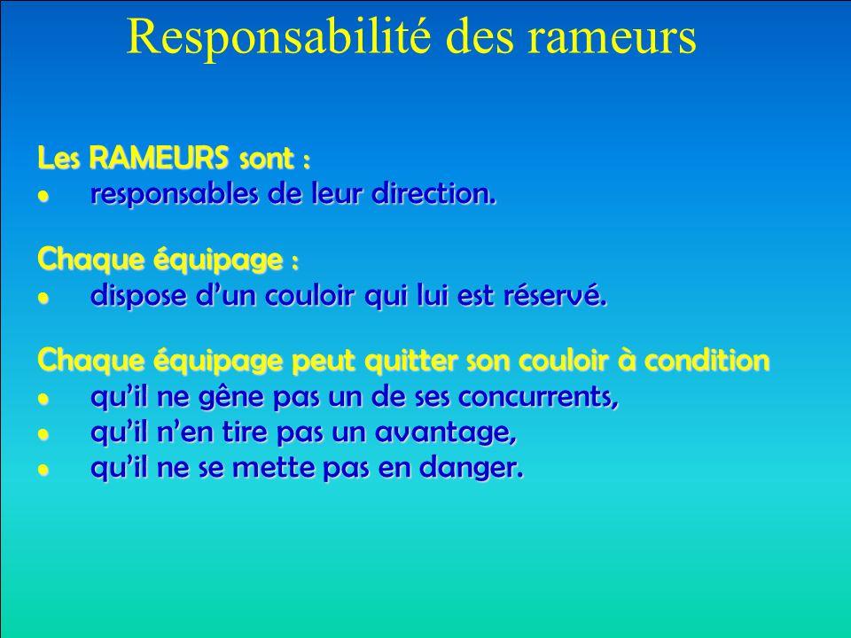 Responsabilité des rameurs Les RAMEURS sont : responsables de leur direction.