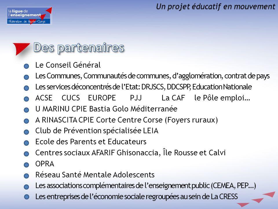 Un projet éducatif en mouvement Le Conseil Général Les Communes, Communautés de communes, dagglomération, contrat de pays Les services déconcentrés de