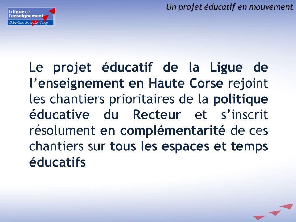 Un projet éducatif en mouvement Le projet éducatif de la Ligue de lenseignement en Haute Corse rejoint les chantiers prioritaires de la politique éduc