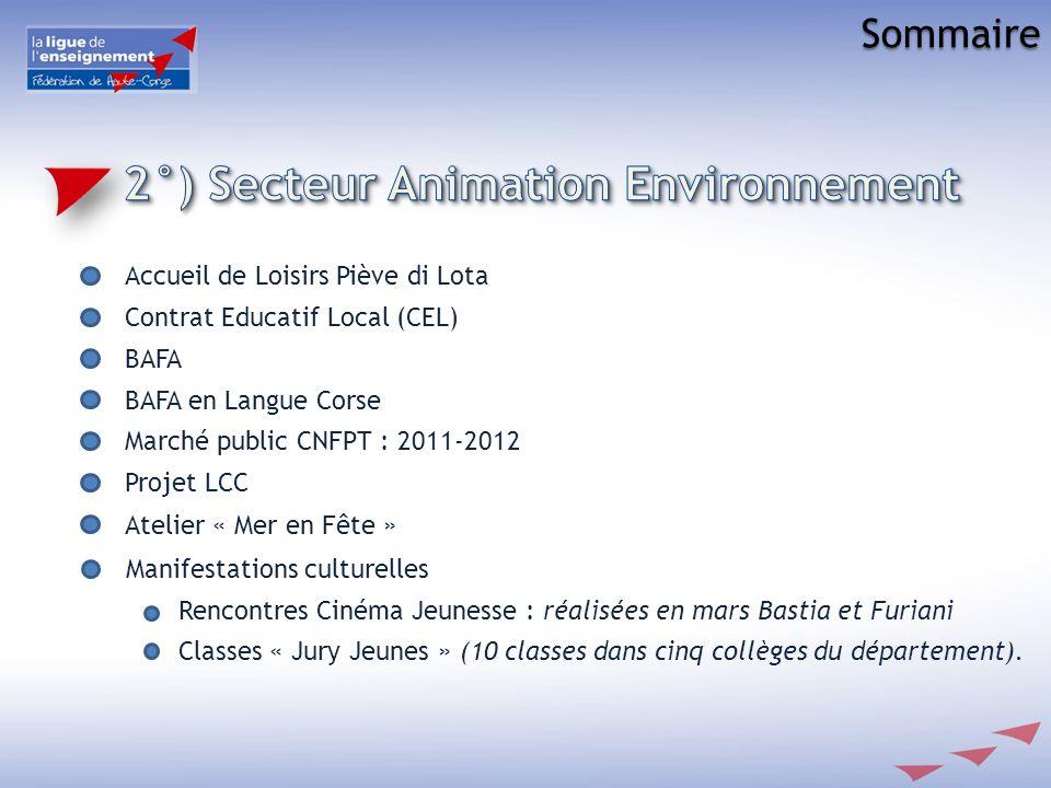 Sommaire Accueil de Loisirs Piève di Lota Contrat Educatif Local (CEL) BAFA BAFA en Langue Corse Marché public CNFPT : 2011-2012 Projet LCC Atelier «