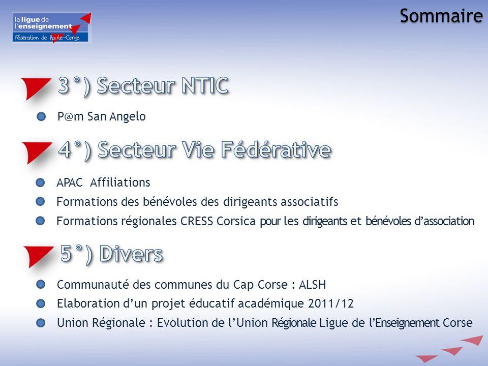 P@m San Angelo APAC Affiliations Formations des bénévoles des dirigeants associatifs Formations régionales CRESS Corsica pour les dirigeants et bénévo