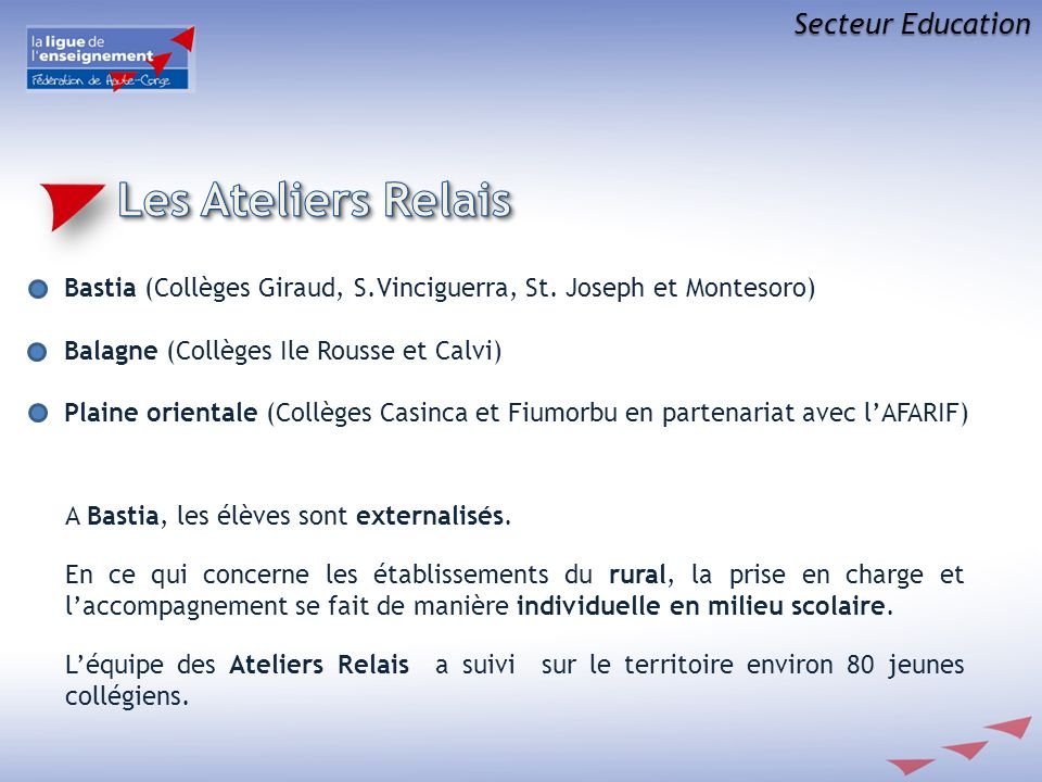 Secteur Education A Bastia, les élèves sont externalisés. En ce qui concerne les établissements du rural, la prise en charge et laccompagnement se fai