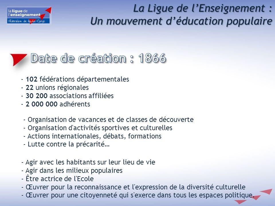 La Ligue de lEnseignement : Un mouvement déducation populaire - 102 fédérations départementales - 22 unions régionales - 30 200 associations affiliées