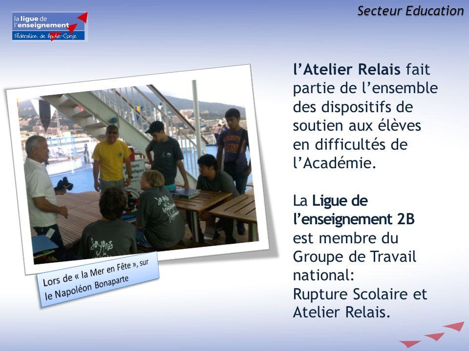 Secteur Education lAtelier Relais fait partie de lensemble des dispositifs de soutien aux élèves en difficultés de lAcadémie. La Ligue de lenseignemen