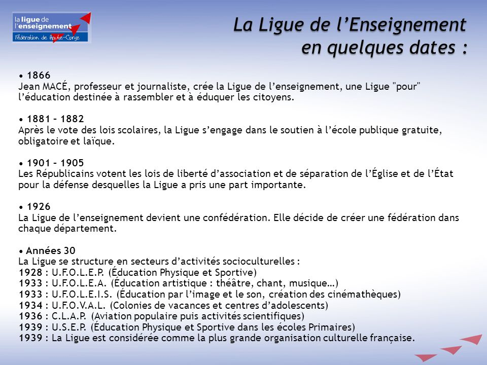 La Ligue de lEnseignement en quelques dates : 1866 Jean MACÉ, professeur et journaliste, crée la Ligue de lenseignement, une Ligue pour léducation destinée à rassembler et à éduquer les citoyens.