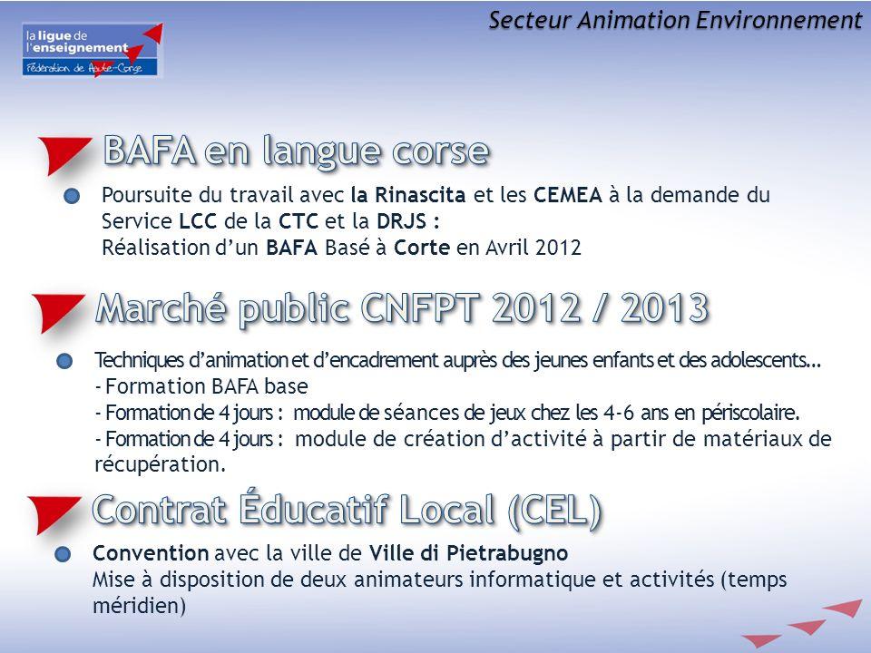Secteur Animation Environnement Poursuite du travail avec la Rinascita et les CEMEA à la demande du Service LCC de la CTC et la DRJS : Réalisation dun