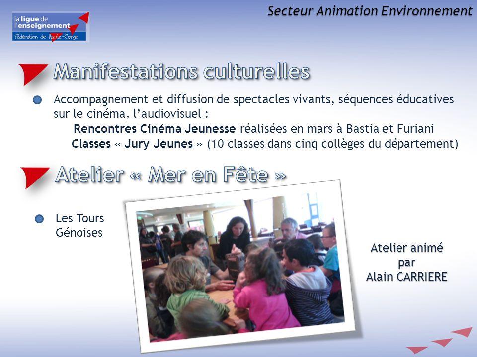 Secteur Animation Environnement Les Tours Génoises Atelier animé par Alain CARRIERE Accompagnement et diffusion de spectacles vivants, séquences éduca
