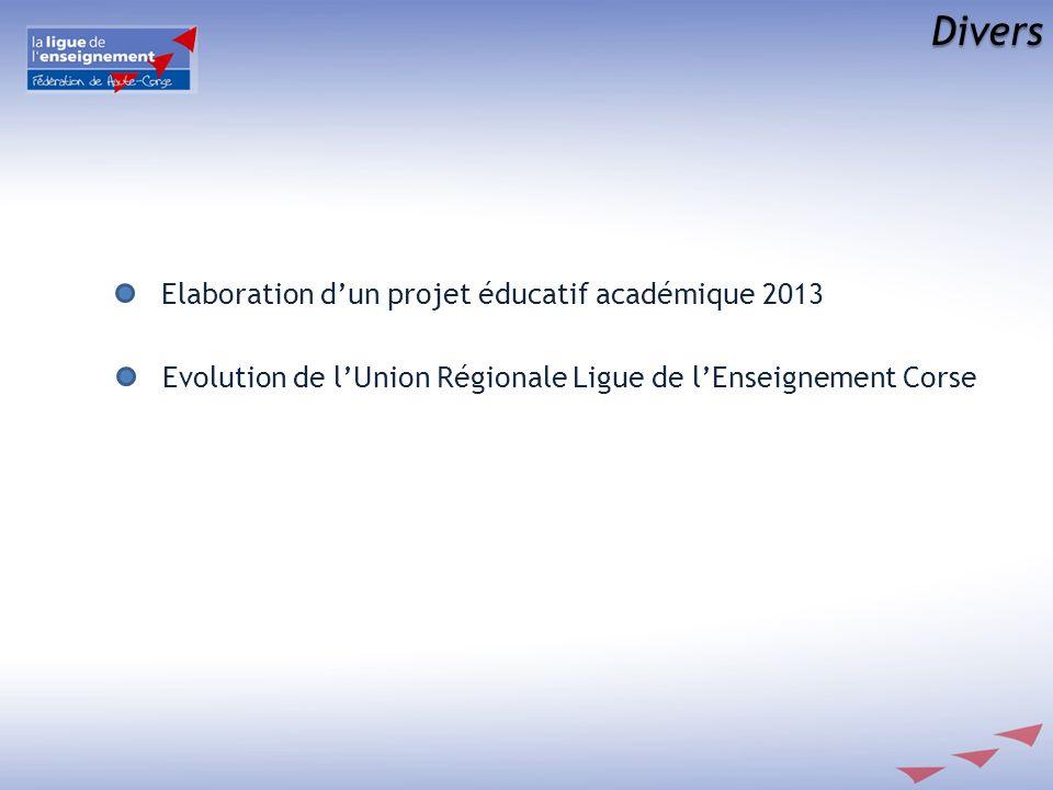 Divers Elaboration dun projet éducatif académique 2013 Evolution de lUnion Régionale Ligue de lEnseignement Corse