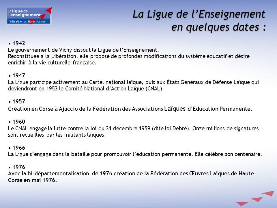 La Ligue de lEnseignement en quelques dates : 1942 Le gouvernement de Vichy dissout la Ligue de lEnseignement. Reconstituée à la Libération, elle prop