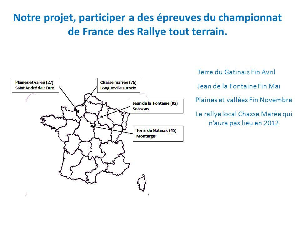 Notre projet, participer a des épreuves du championnat de France des Rallye tout terrain. Terre du Gatinais Fin Avril Jean de la Fontaine Fin Mai Plai
