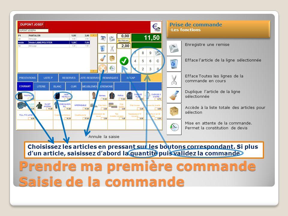 Prendre ma première commande Fiche client Pressez sur « Nouvelle commande » Détails de la fiche client -Infos générales -Si le client à une commande en attente de livraison elle apparait automatiquement.