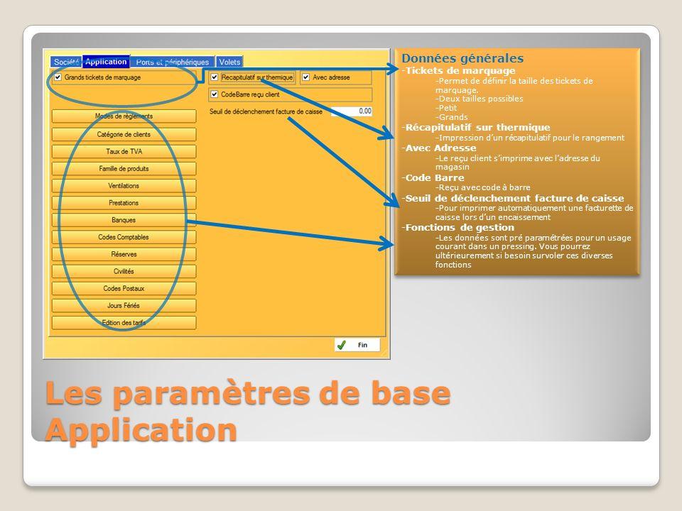 Les paramètres de base Société Depuis le menu principal -« Utilitaires » puis « paramètres » -Entrez vos coordonnées -Le répertoire de données est pré paramétré.