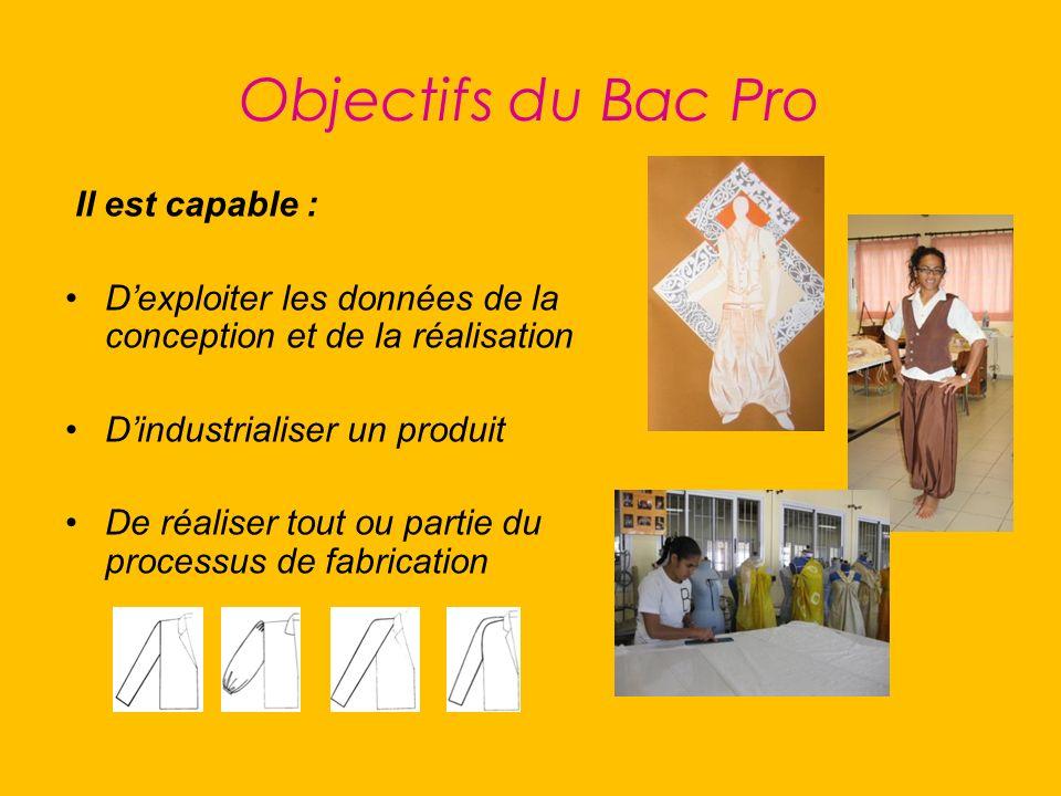Objectifs du Bac Pro Il est capable : Dexploiter les données de la conception et de la réalisation Dindustrialiser un produit De réaliser tout ou part