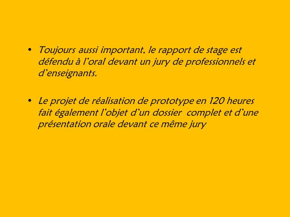 Toujours aussi important, le rapport de stage est défendu à loral devant un jury de professionnels et denseignants. Le projet de réalisation de protot
