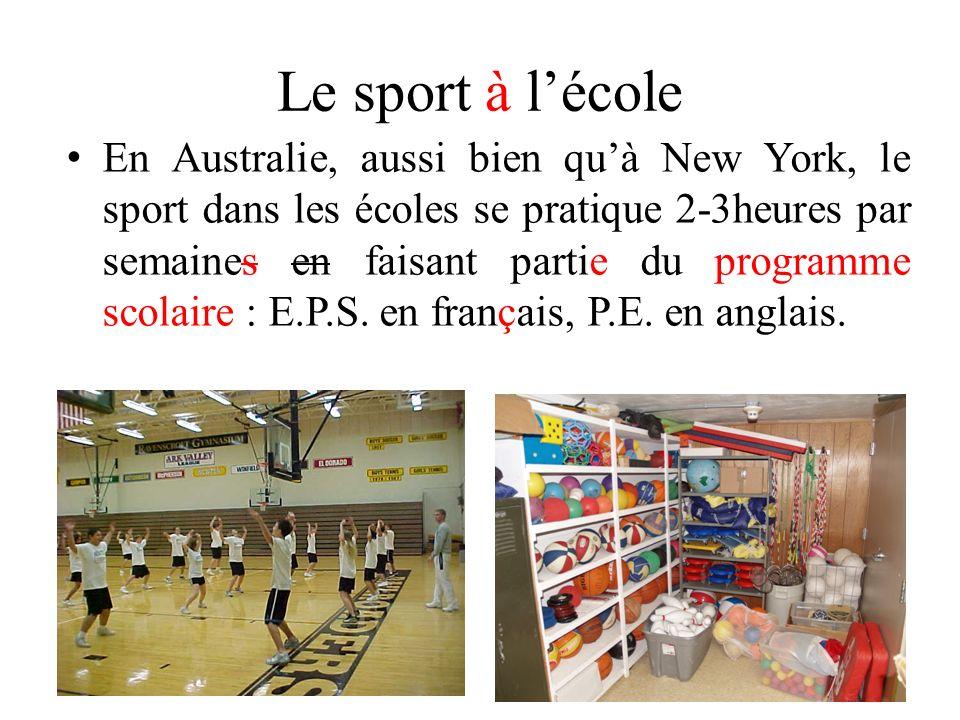 Le sport à lécole En Australie, aussi bien quà New York, le sport dans les écoles se pratique 2-3heures par semaines en faisant partie du programme sc