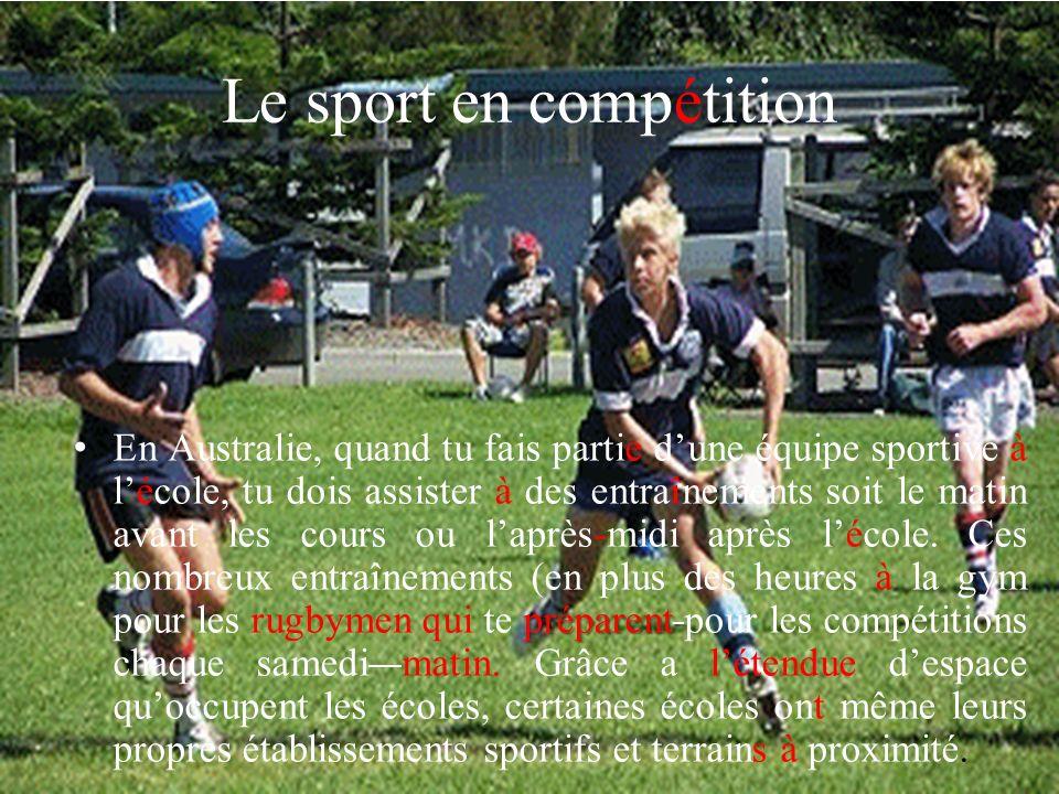 Le sport en compétition préparent En Australie, quand tu fais partie dune équipe sportive à lécole, tu dois assister à des entraînements soit le matin