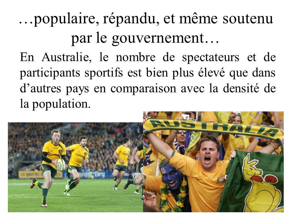 …populaire, répandu, et même soutenu par le gouvernement… En Australie, le nombre de spectateurs et de participants sportifs est bien plus élevé que d