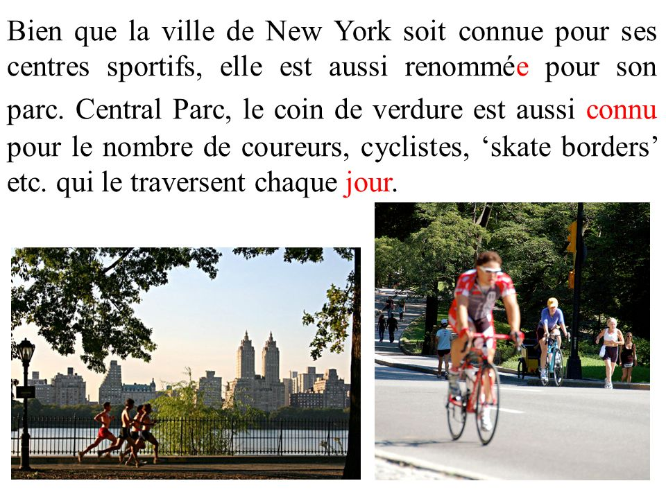 Bien que la ville de New York soit connue pour ses centres sportifs, elle est aussi renommée pour son parc. Central Parc, le coin de verdure est aussi