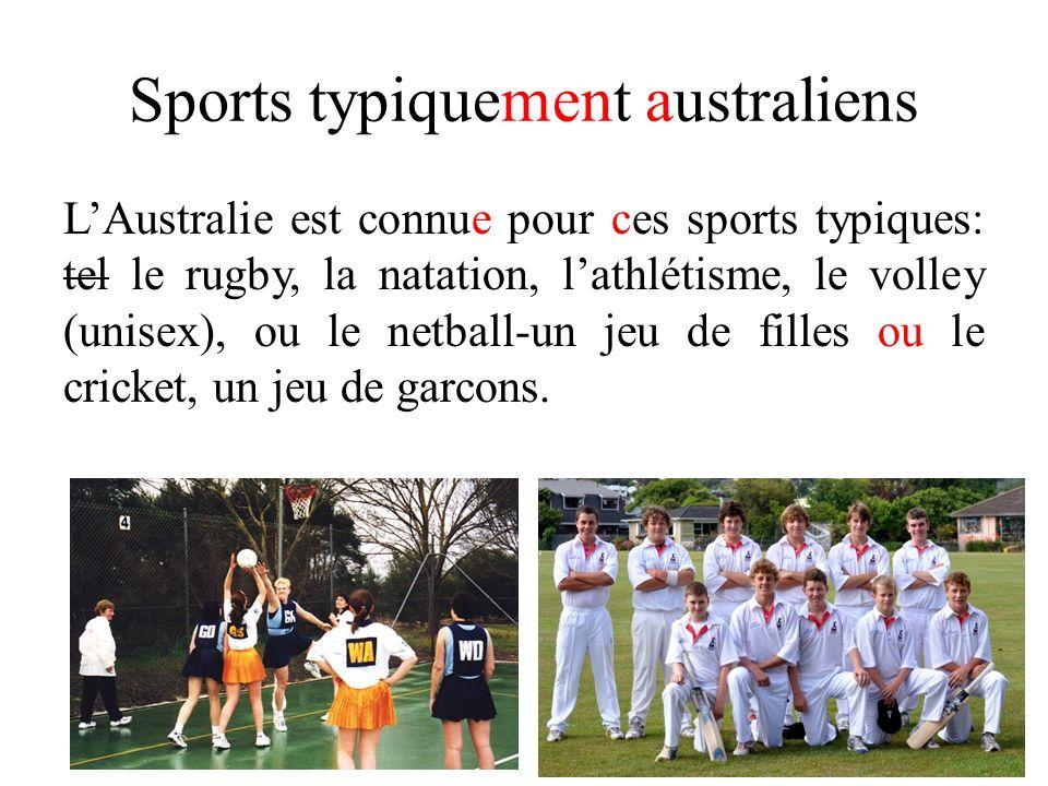 Sports typiquement australiens LAustralie est connue pour ces sports typiques: tel le rugby, la natation, lathlétisme, le volley (unisex), ou le netba