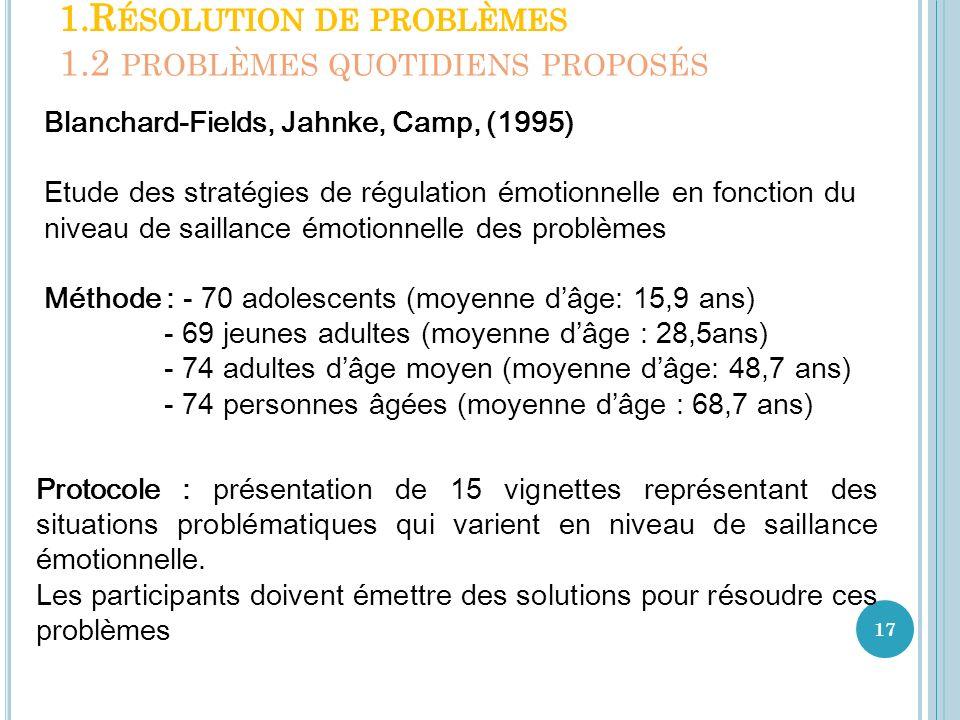 17 Blanchard-Fields, Jahnke, Camp, (1995) Etude des stratégies de régulation émotionnelle en fonction du niveau de saillance émotionnelle des problème