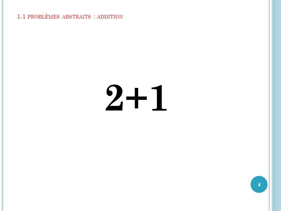 1.1 PROBLÈMES ABSTRAITS : ADDITION 2+1 4
