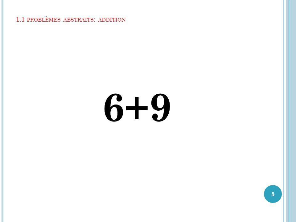 1.1 PROBLÈMES ABSTRAITS : ADDITION 6+9 5