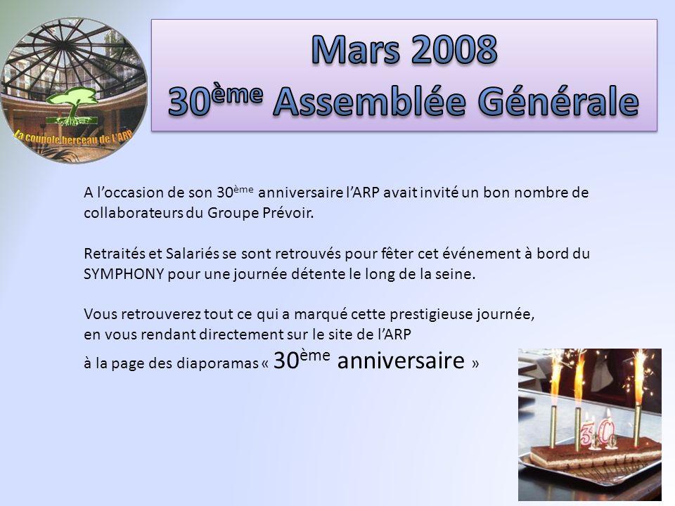 A loccasion de son 30 ème anniversaire lARP avait invité un bon nombre de collaborateurs du Groupe Prévoir.