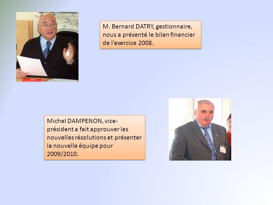 M. Bernard DATRY, gestionnaire, nous a présenté le bilan financier de lexercice 2008. Michel DAMPENON, vice- président a fait approuver les nouvelles