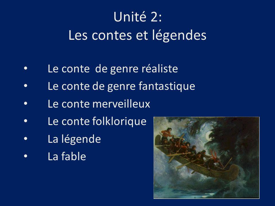 Unité 2: Les contes et légendes Le conte de genre réaliste Le conte de genre fantastique Le conte merveilleux Le conte folklorique La légende La fable