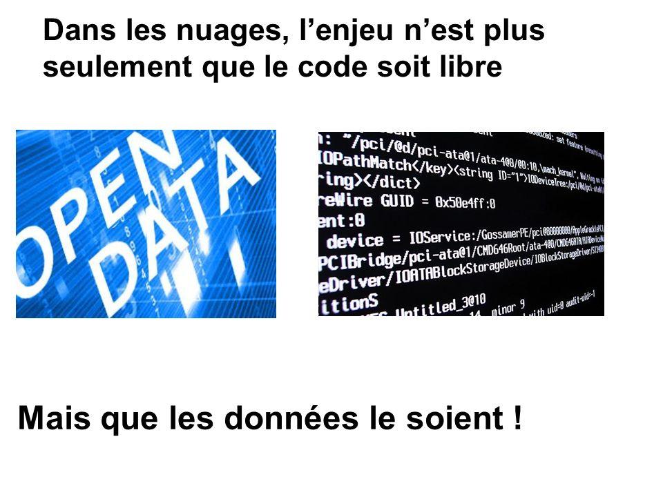 Dans les nuages, lenjeu nest plus seulement que le code soit libre Mais que les données le soient !