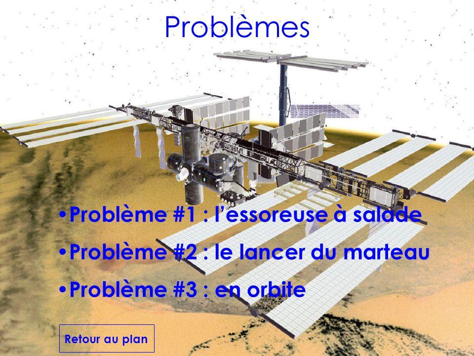 Problèmes Problème #3 : en orbite Problème #1 : lessoreuse à salade Problème #2 : le lancer du marteau Retour au plan