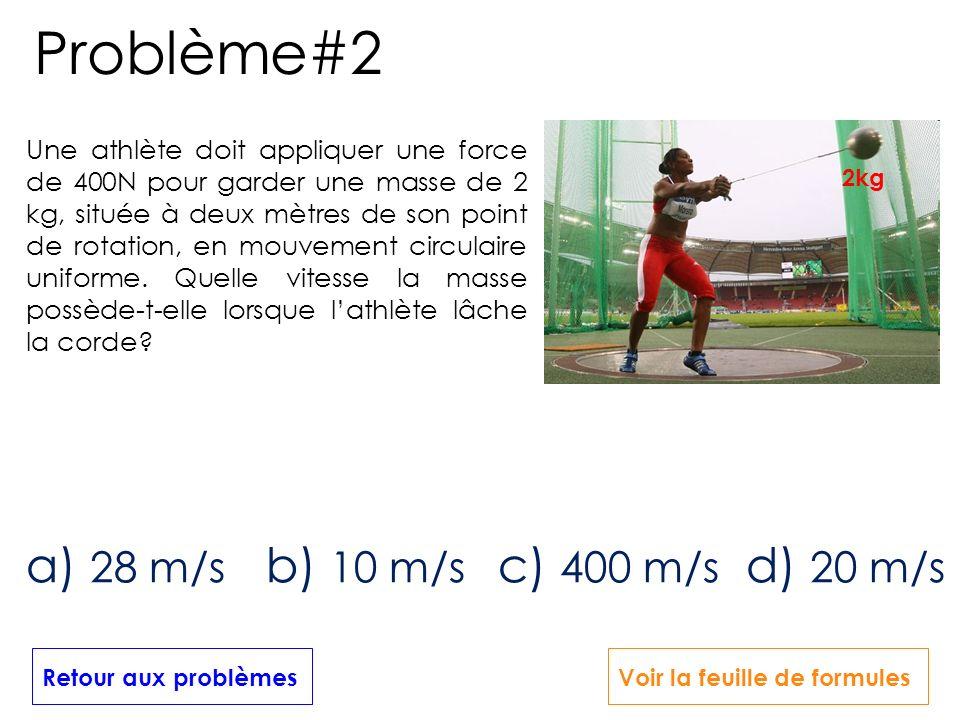 Une athlète doit appliquer une force de 400N pour garder une masse de 2 kg, située à deux mètres de son point de rotation, en mouvement circulaire uni