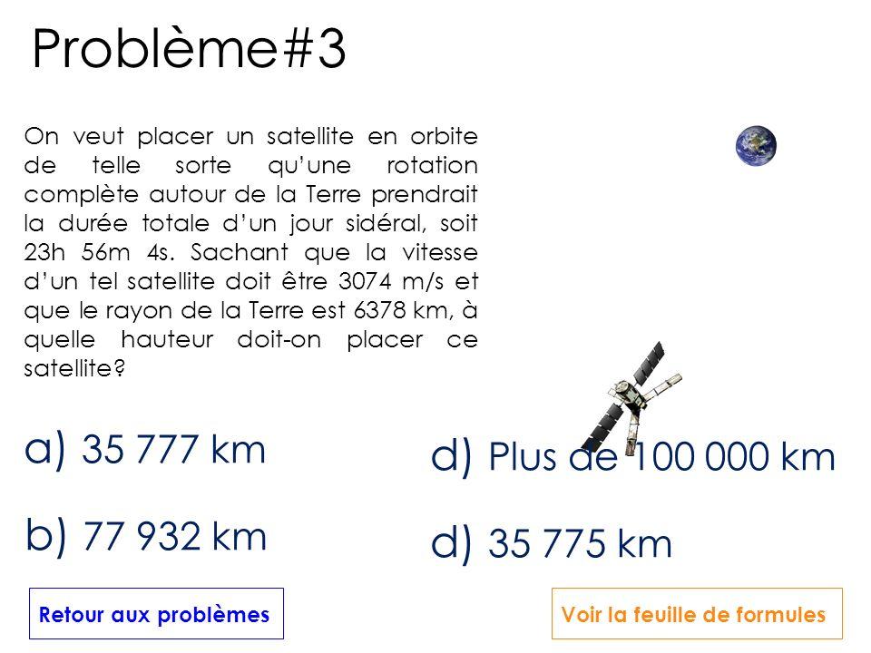 On veut placer un satellite en orbite de telle sorte quune rotation complète autour de la Terre prendrait la durée totale dun jour sidéral, soit 23h 5