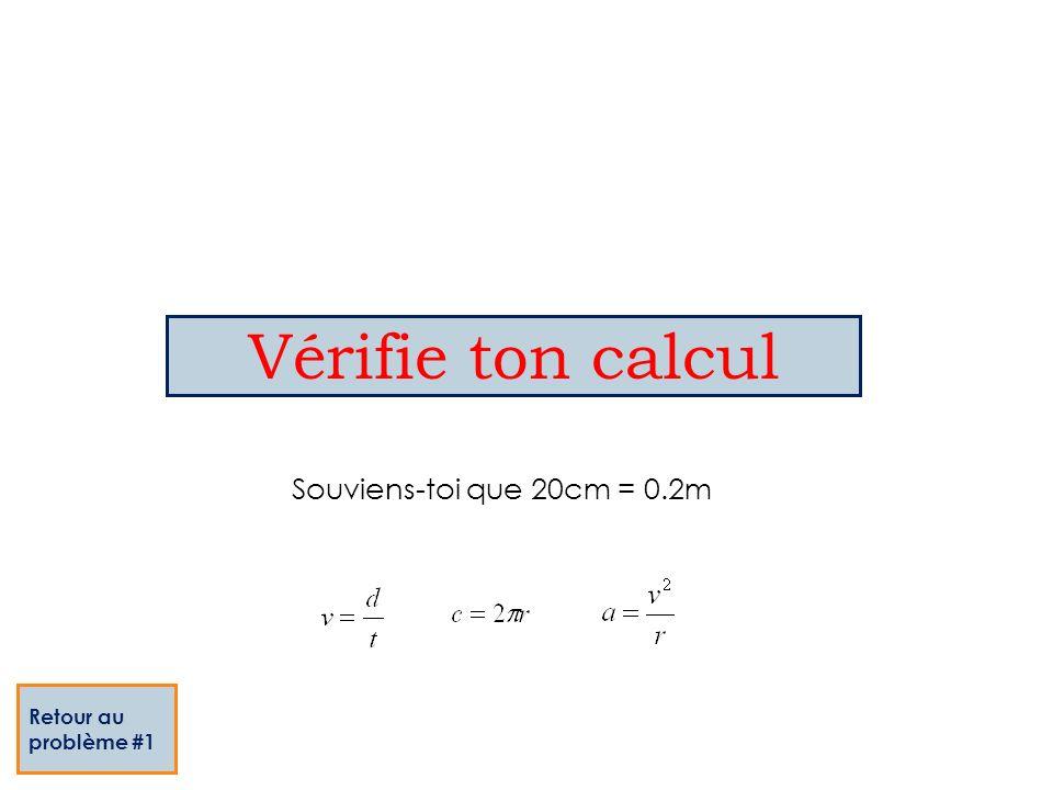 Vérifie ton calcul Retour au problème #1 Souviens-toi que 20cm = 0.2m