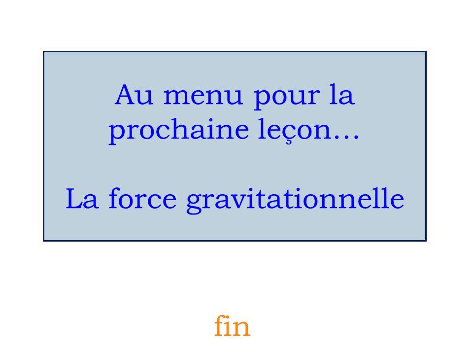 Au menu pour la prochaine leçon… La force gravitationnelle fin