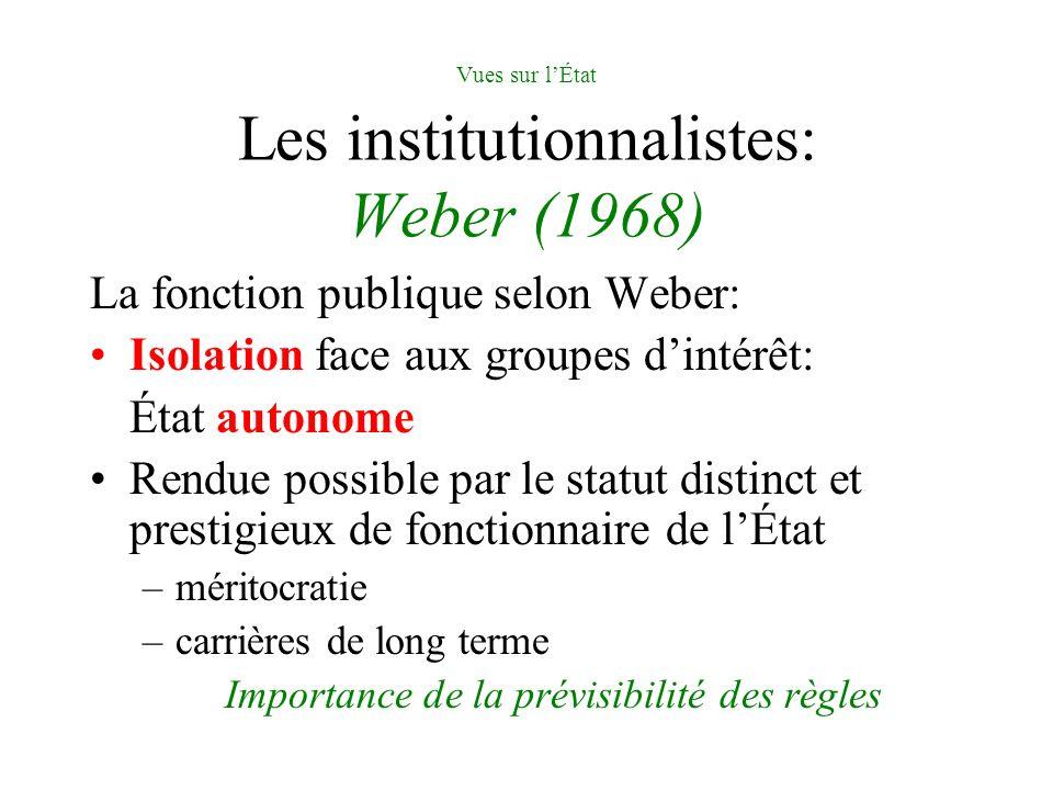 Vues sur lÉtat Les institutionnalistes: Weber (1968) La fonction publique selon Weber: Isolation face aux groupes dintérêt: État autonome Rendue possi