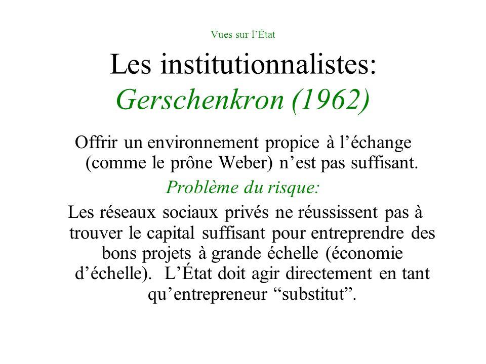 Vues sur lÉtat Les institutionnalistes: Gerschenkron (1962) Offrir un environnement propice à léchange (comme le prône Weber) nest pas suffisant. Prob