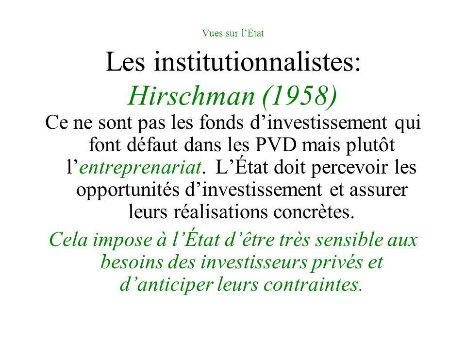 Vues sur lÉtat Les institutionnalistes: Hirschman (1958) Ce ne sont pas les fonds dinvestissement qui font défaut dans les PVD mais plutôt lentreprenariat.